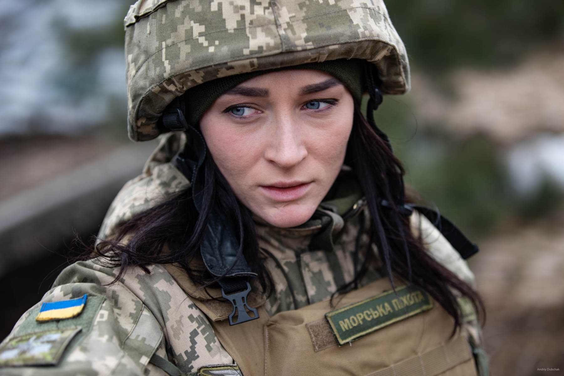 Oleksandra Bessmertnaya, press officer, of the 36th ОМБР of the Marine Corps of Ukraine on the frontline in Shirokine, March 2018.