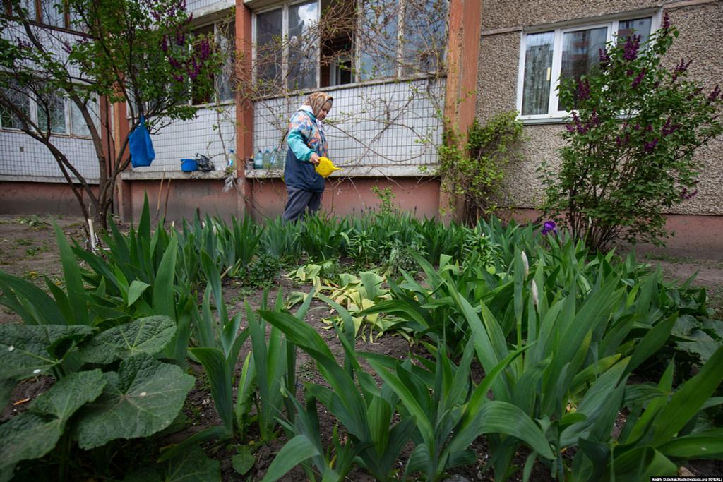 79-річна Марія Іванівна поливає квіти під своїм балконом. Фото - Андрій Дубчак