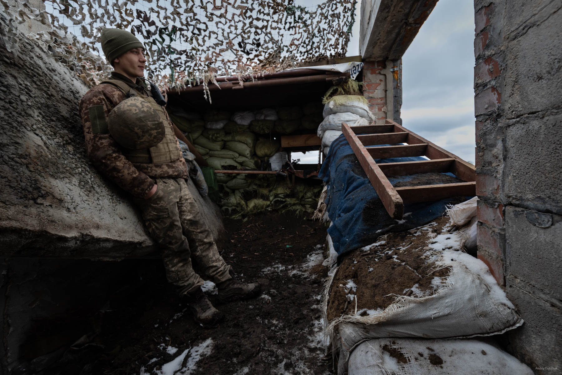 "At one of the front positions, I speak with ""Archie"", a 20-year-old boy from the region of Nikolayev. He tells us that the militants often try to approach our positions through wood lines at night; our warriors have to respond with fire at regular intervals. Shirokine, March 2018. Video: https://goo.gl/iVAXZB"